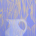 sweet pea white jug (76x56cm) linocut(56x76cm) linocut