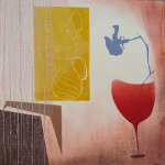 13-Red-glass-with-blue-sweet-pea-Julie-Wyness-printmaking