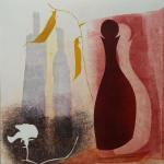 14-White-sweet-pea-dark-bottle-Julie-Wyness-printmaking-monoprint