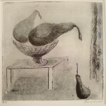 18-Two-pears-on-table-Julie-Wyness-printmaking-photoetching