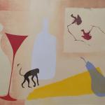 2-Monkey-red-glass-blue-pear-Julie-Wyness-printmaking-monprint
