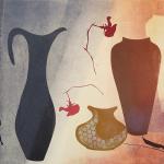 3-Monkey-blue-brown-vessels-Julie-Wyness-printmaking