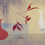 5-Red-vase-red-leaves-Julie-Wyness-printmaking-monoprint
