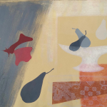 6-Blue-pears-white-dish-Julie-Wyness-printmaking-monoprint