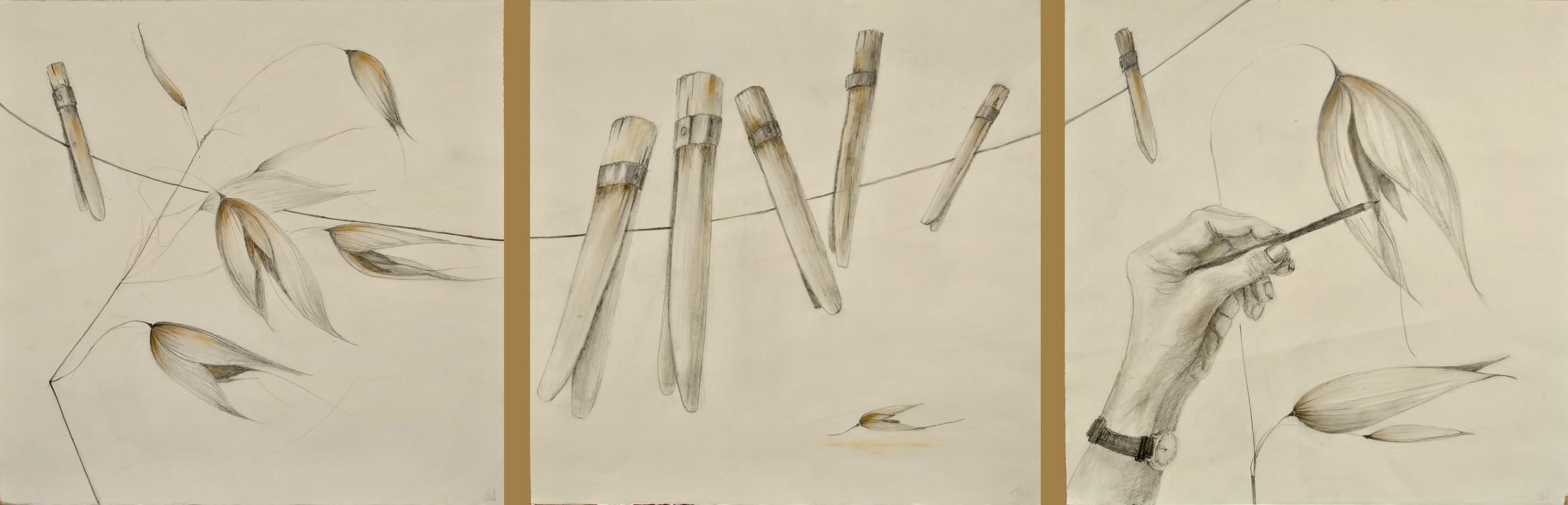 Pencil drawing of washing line, hand, oats