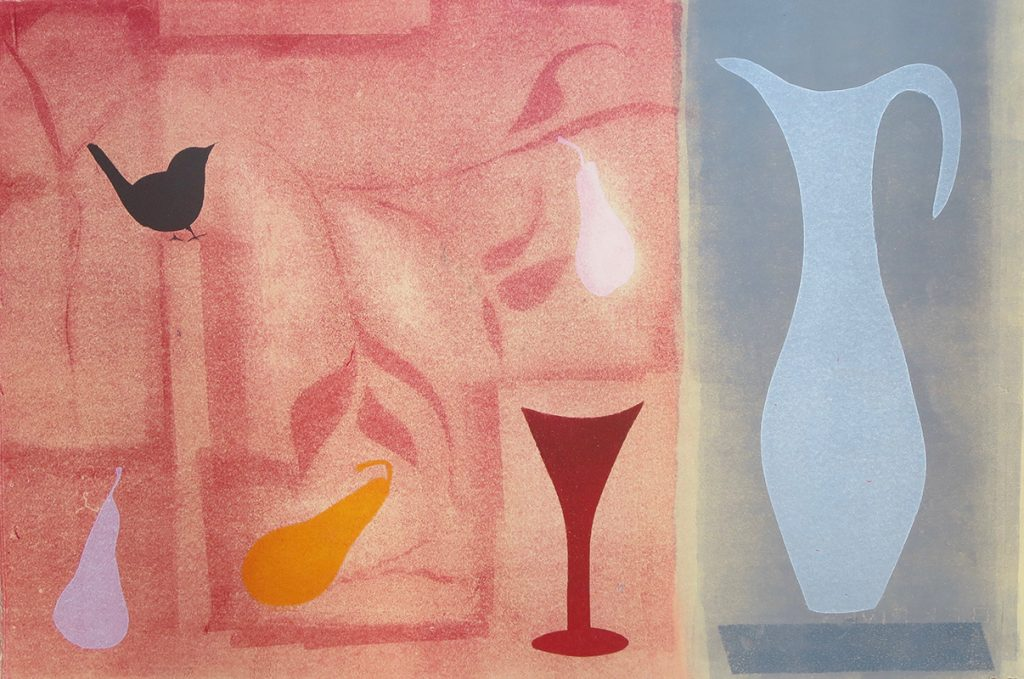 Wren with red glass and blue vase